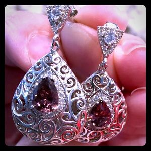 Beautiful Silver Earrings- Rhodolite Garnet & CZ